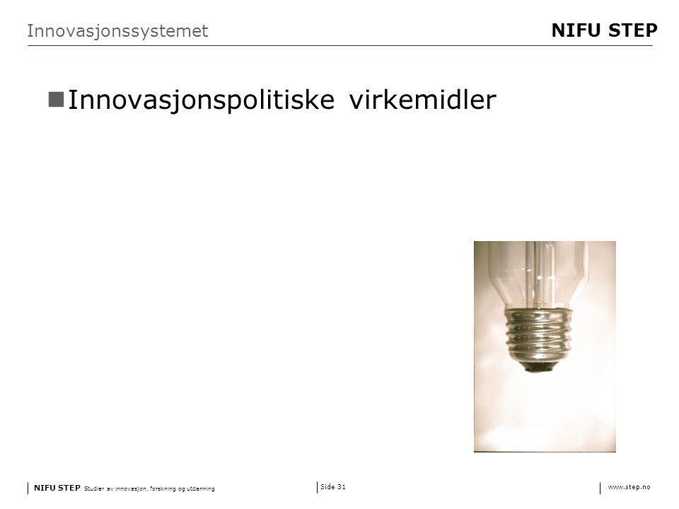 NIFU STEP Studier av innovasjon, forskning og utdanning www.step.no NIFU STEP Side 31 Innovasjonssystemet Innovasjonspolitiske virkemidler
