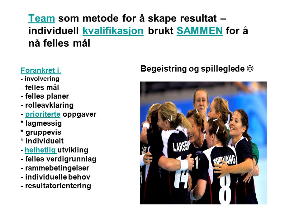 TeamTeam som metode for å skape resultat – individuell kvalifikasjon brukt SAMMEN for å nå felles målkvalifikasjonSAMMEN Forankret i: - involvering -