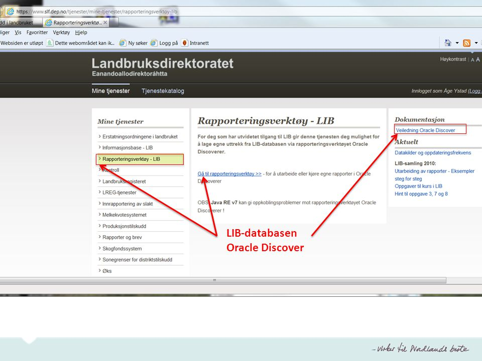 LIB-databasen Oracle Discover