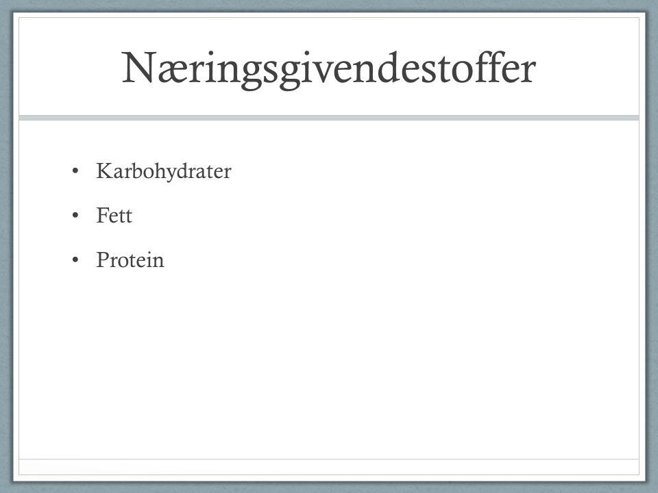 Næringsgivendestoffer Karbohydrater Fett Protein