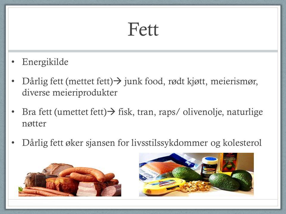 Fett Energikilde Dårlig fett (mettet fett)  junk food, rødt kjøtt, meierismør, diverse meieriprodukter Bra fett (umettet fett)  fisk, tran, raps/ ol