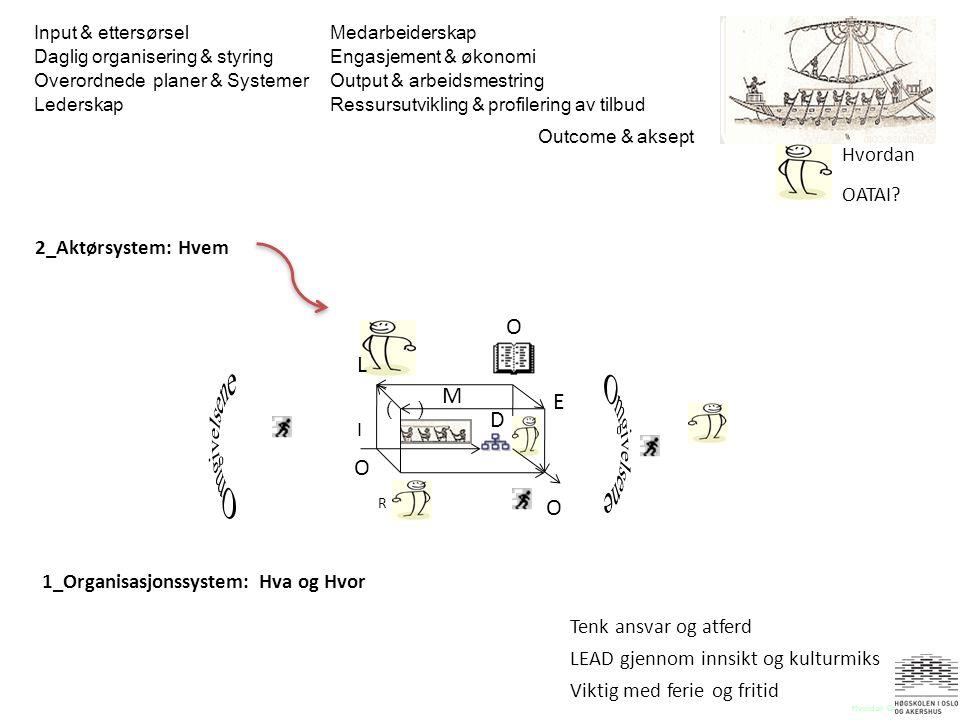 Hvordan Hvordan Oatava? OATAI? )( I D O L M E O R O Viktig med ferie og fritid LEAD gjennom innsikt og kulturmiks Tenk ansvar og atferd 1_Organisasjon