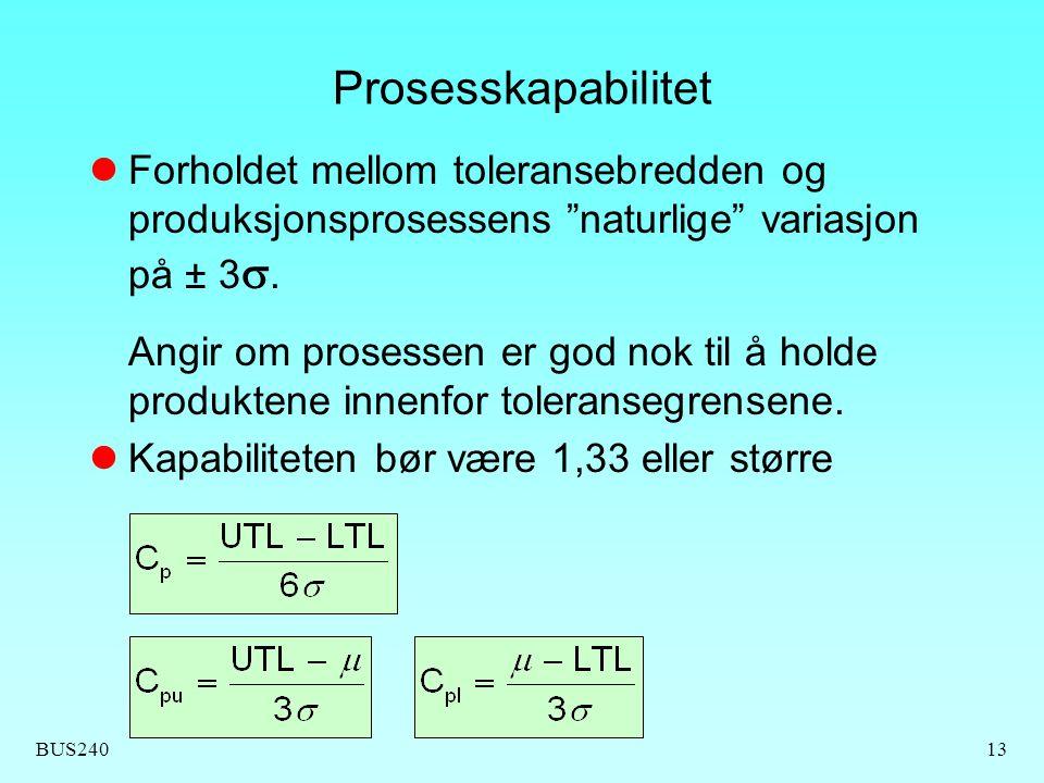 """BUS24013 Prosesskapabilitet Forholdet mellom toleransebredden og produksjonsprosessens """"naturlige"""" variasjon på ± 3 . Angir om prosessen er god nok t"""