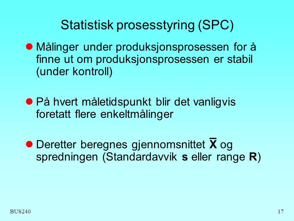 BUS24017 Statistisk prosesstyring (SPC) Målinger under produksjonsprosessen for å finne ut om produksjonsprosessen er stabil (under kontroll) På hvert