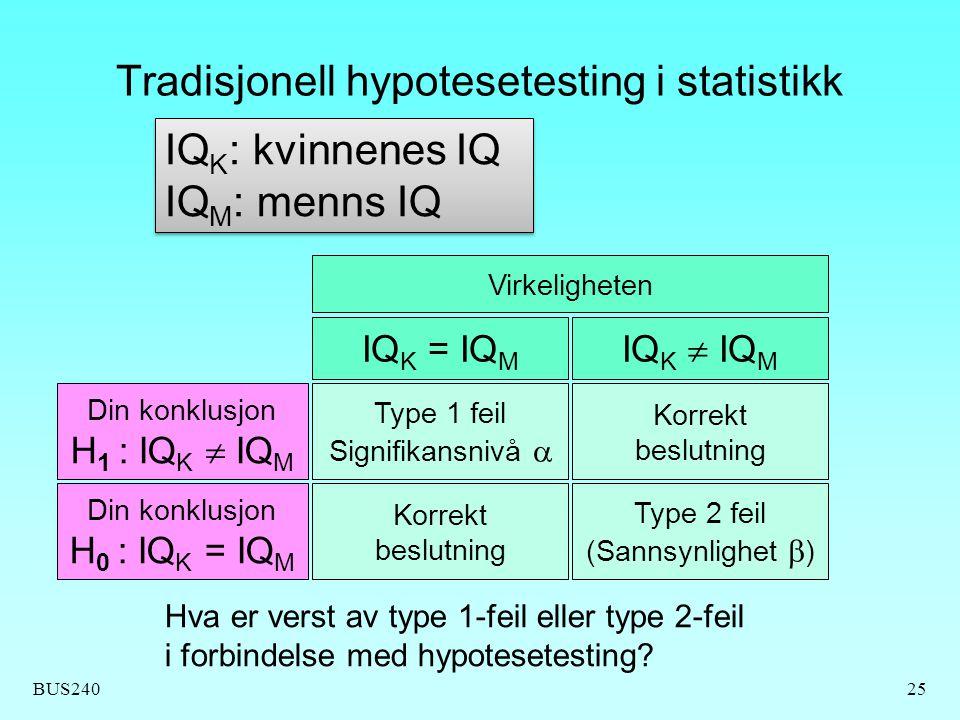 BUS24025 Tradisjonell hypotesetesting i statistikk Din konklusjon H 1 : IQ K  IQ M Din konklusjon H 0 : IQ K = IQ M Hva er verst av type 1-feil eller