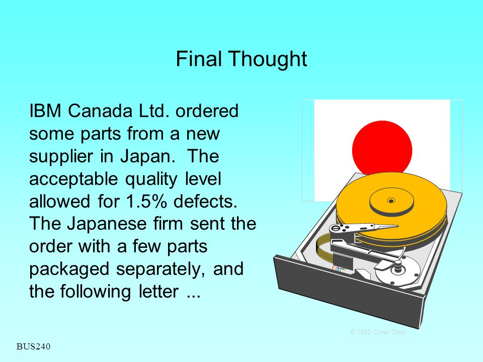 BUS240 Final Thought IBM Canada Ltd. ordered some parts from a new supplier in Japan. The acceptable quality level allowed for 1.5% defects. The Japan