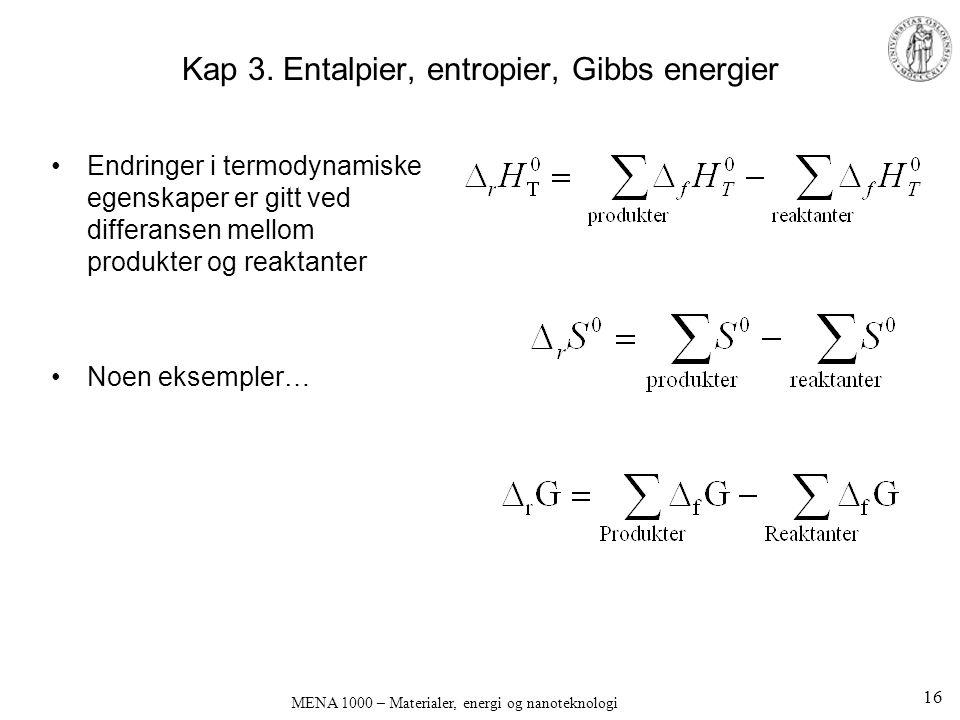 Kap 3. Entalpier, entropier, Gibbs energier Endringer i termodynamiske egenskaper er gitt ved differansen mellom produkter og reaktanter Noen eksemple