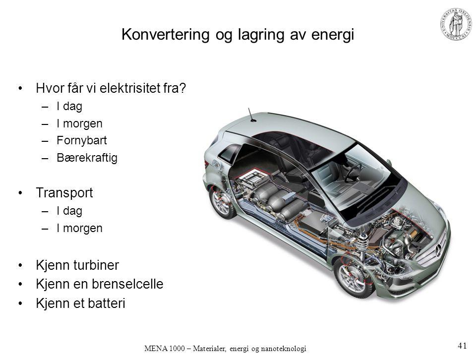 Konvertering og lagring av energi Hvor får vi elektrisitet fra? –I dag –I morgen –Fornybart –Bærekraftig Transport –I dag –I morgen Kjenn turbiner Kje