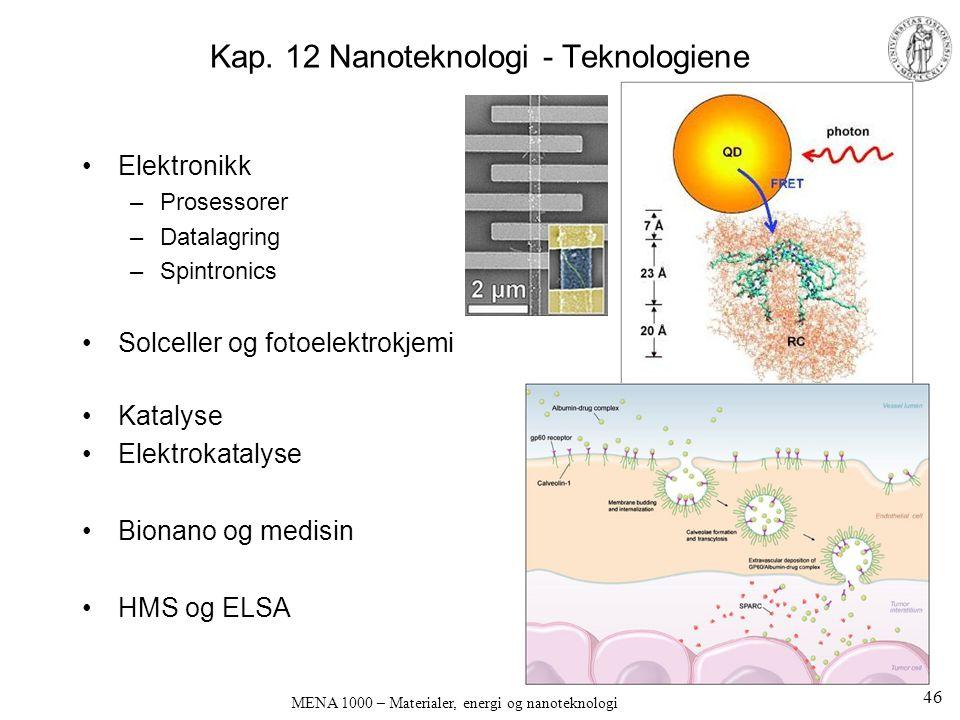 Kap. 12 Nanoteknologi - Teknologiene Elektronikk –Prosessorer –Datalagring –Spintronics Solceller og fotoelektrokjemi Katalyse Elektrokatalyse Bionano