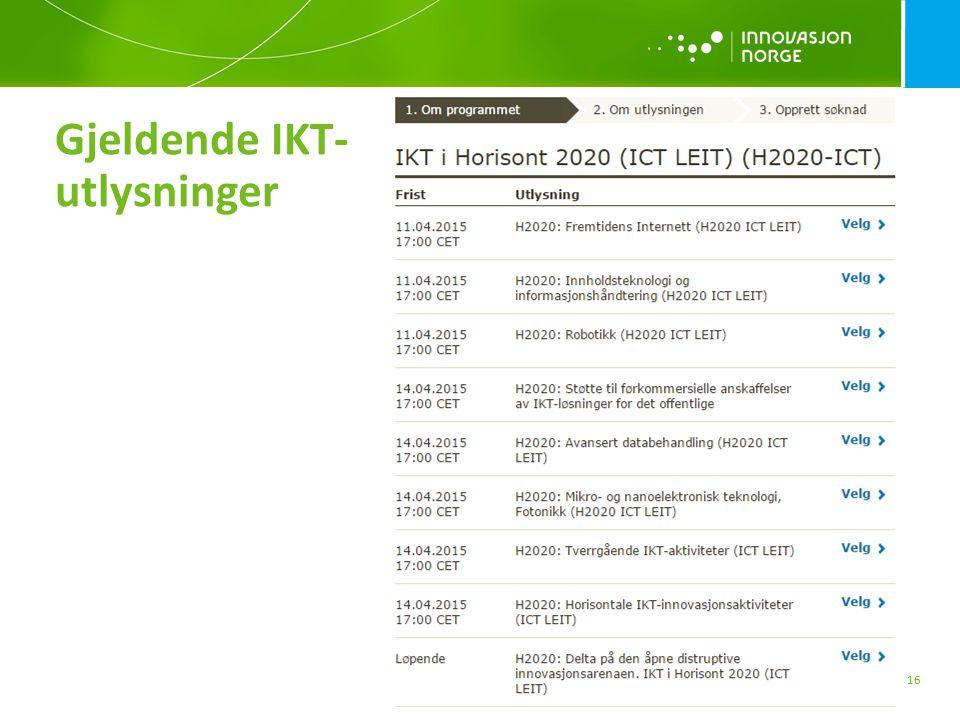 Gjeldende IKT- utlysninger 16
