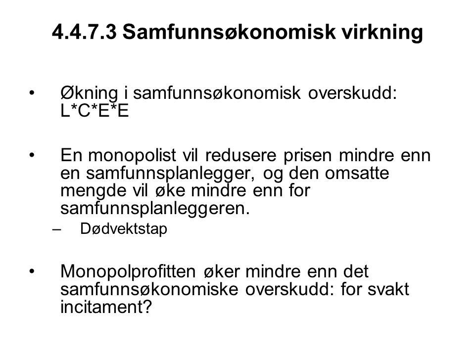 4.4.7.3 Samfunnsøkonomisk virkning Økning i samfunnsøkonomisk overskudd: L*C*E*E En monopolist vil redusere prisen mindre enn en samfunnsplanlegger, o