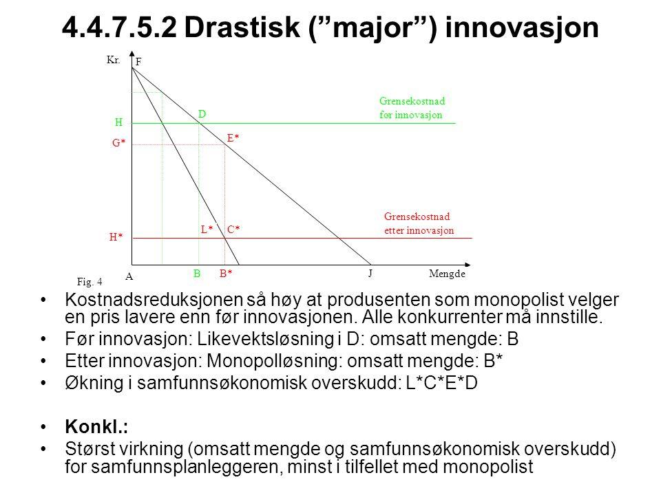 """4.4.7.5.2 Drastisk (""""major"""") innovasjon Kostnadsreduksjonen så høy at produsenten som monopolist velger en pris lavere enn før innovasjonen. Alle konk"""