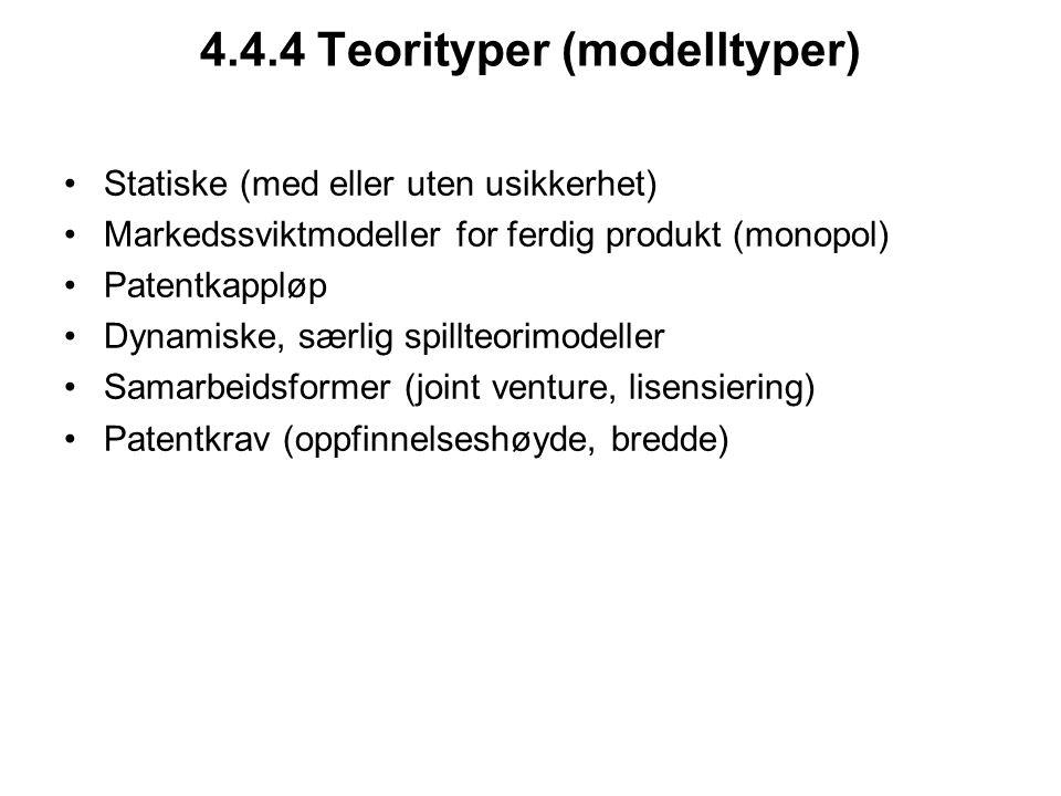 4.4.4 Teorityper (modelltyper) Statiske (med eller uten usikkerhet) Markedssviktmodeller for ferdig produkt (monopol) Patentkappløp Dynamiske, særlig