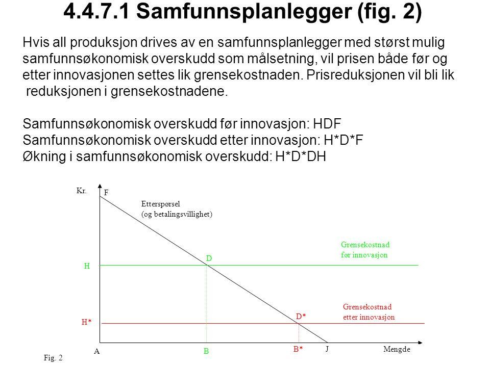 4.4.7.1 Samfunnsplanlegger (fig. 2) AB D* D F H JMengde Kr. Grensekostnad etter innovasjon Etterspørsel (og betalingsvillighet) H* Grensekostnad før i
