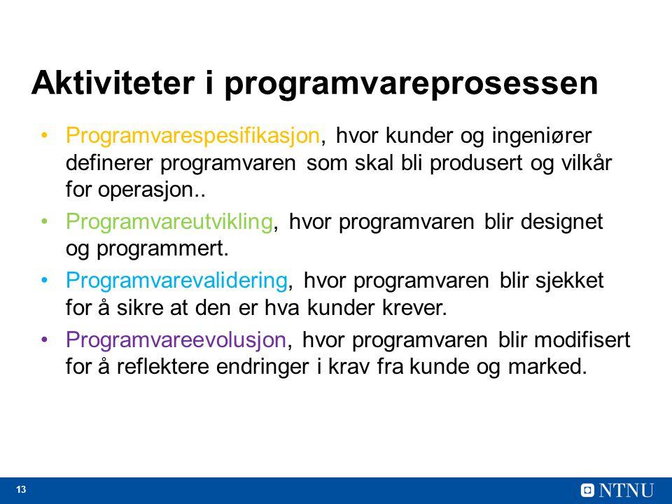 13 Aktiviteter i programvareprosessen Programvarespesifikasjon, hvor kunder og ingeniører definerer programvaren som skal bli produsert og vilkår for operasjon..
