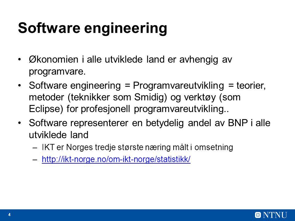 4 Software engineering Økonomien i alle utviklede land er avhengig av programvare.