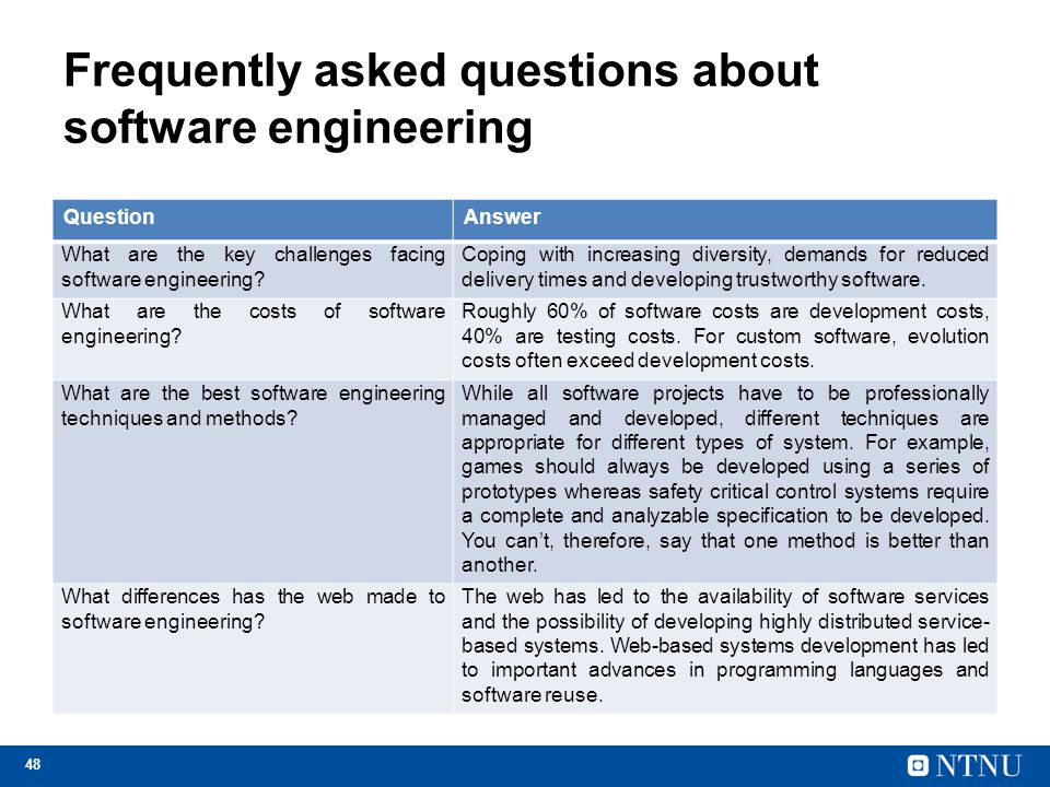 48 Frequently asked questions about software engineering QuestionAnswer What are the key challenges facing software engineering? Coping with increasin