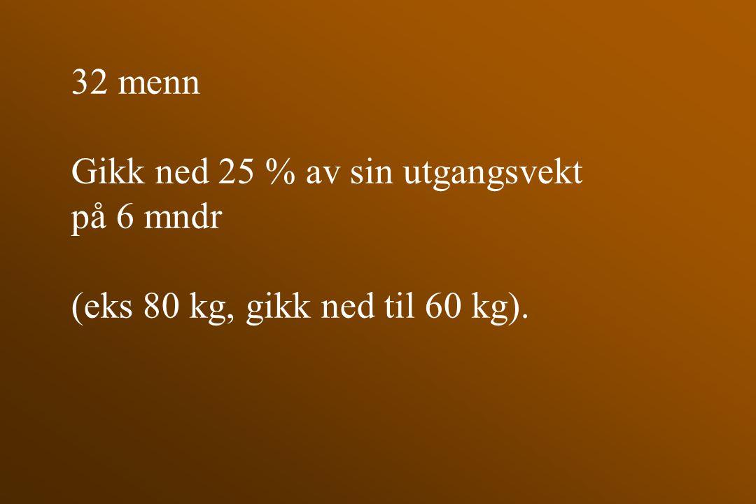 32 menn Gikk ned 25 % av sin utgangsvekt på 6 mndr (eks 80 kg, gikk ned til 60 kg).