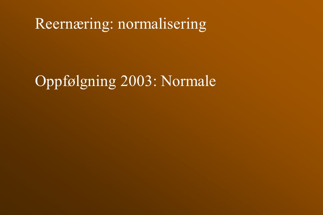 Reernæring: normalisering Oppfølgning 2003: Normale