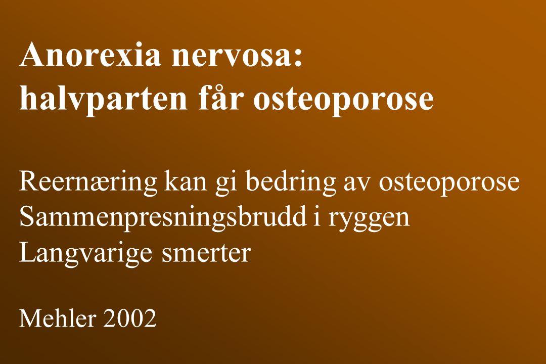 Anorexia nervosa: halvparten får osteoporose Reernæring kan gi bedring av osteoporose Sammenpresningsbrudd i ryggen Langvarige smerter Mehler 2002
