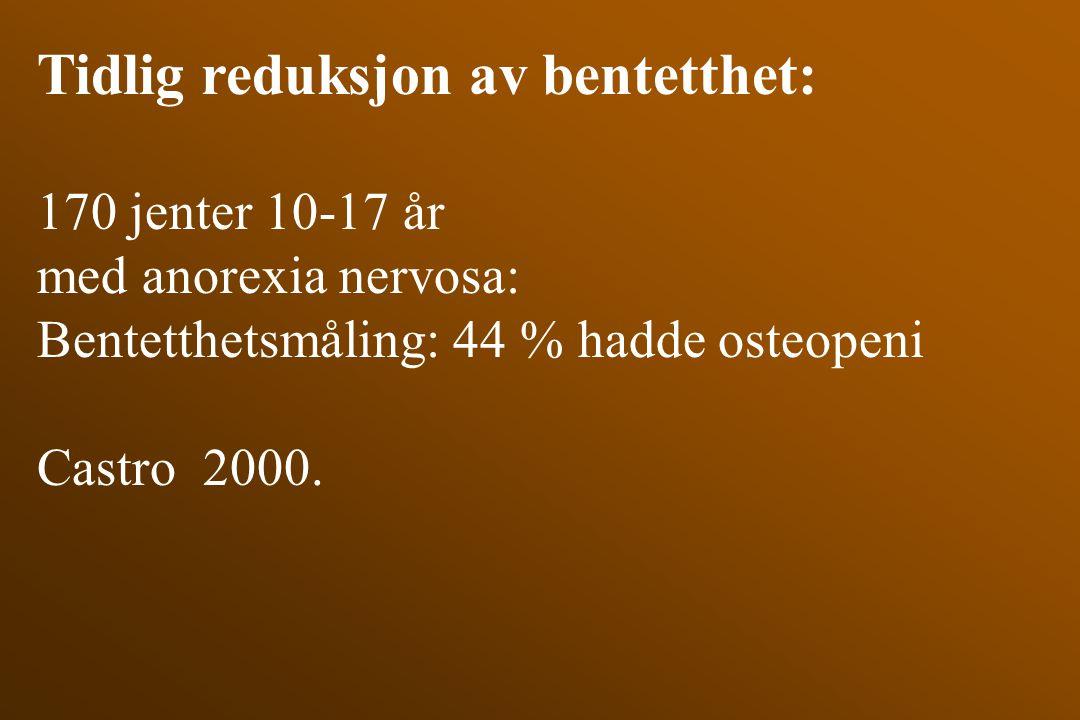 Tidlig reduksjon av bentetthet: 170 jenter 10-17 år med anorexia nervosa: Bentetthetsmåling: 44 % hadde osteopeni Castro 2000.