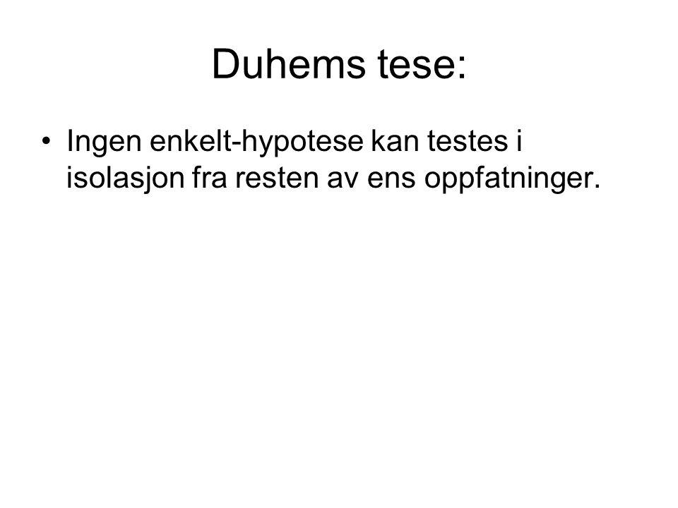 Duhems tese: Ingen enkelt-hypotese kan testes i isolasjon fra resten av ens oppfatninger.
