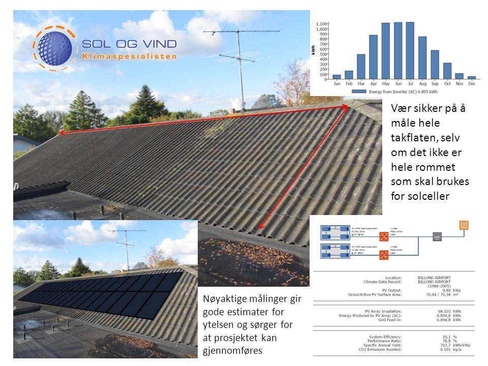 Vær sikker på å måle hele takflaten, selv om det ikke er hele rommet som skal brukes for solceller Nøyaktige målinger gir gode estimater for ytelsen og sørger for at prosjektet kan gjennomføres
