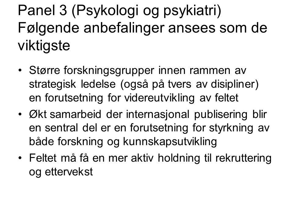 Panel 3 (Psykologi og psykiatri) Følgende anbefalinger ansees som de viktigste Større forskningsgrupper innen rammen av strategisk ledelse (også på tv