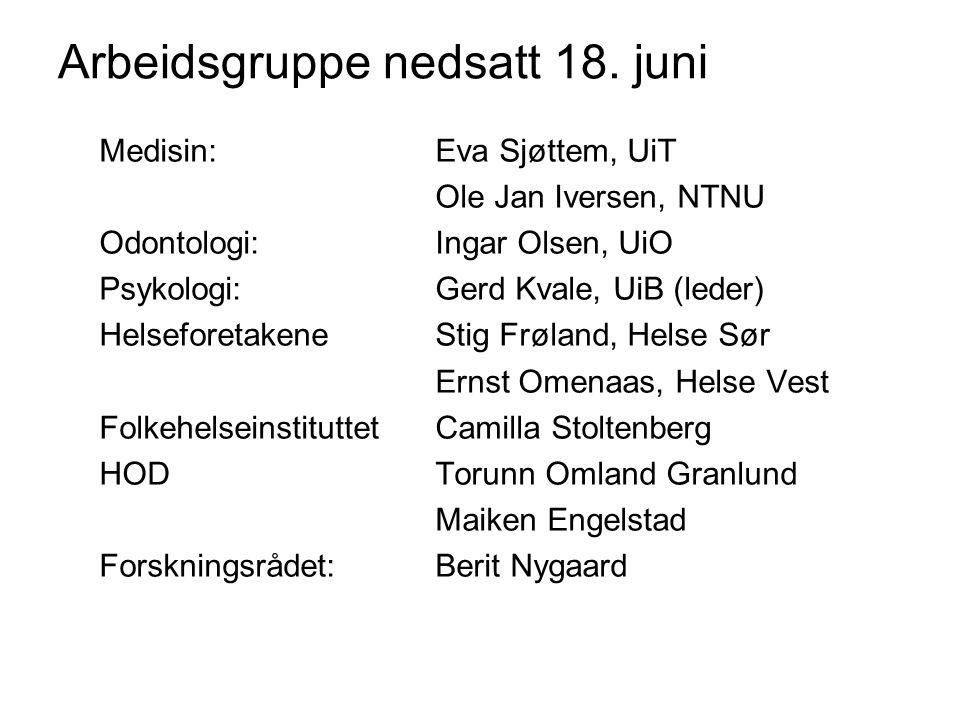 Medisin: Eva Sjøttem, UiT Ole Jan Iversen, NTNU Odontologi:Ingar Olsen, UiO Psykologi: Gerd Kvale, UiB (leder) HelseforetakeneStig Frøland, Helse Sør