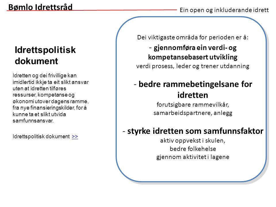 Ein open og inkluderande idrett Idrettspolitisk dokument Bømlo Idrettsråd Dei viktigaste områda for perioden er å: - gjennomføra ein verdi- og kompeta