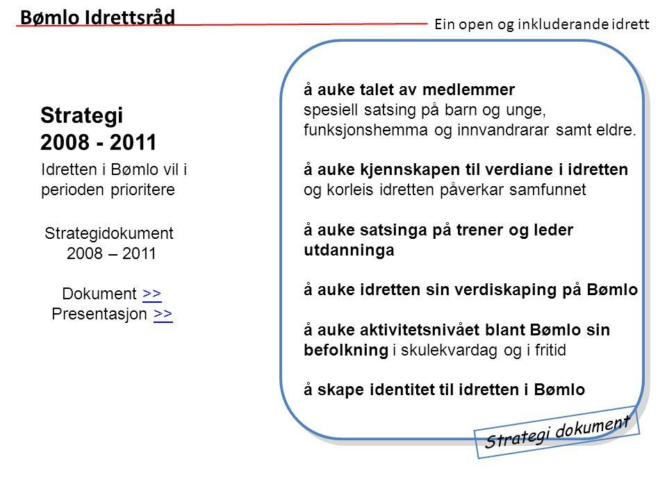 Ein open og inkluderande idrett Strategi 2008 - 2011 Bømlo Idrettsråd å auke talet av medlemmer spesiell satsing på barn og unge, funksjonshemma og in