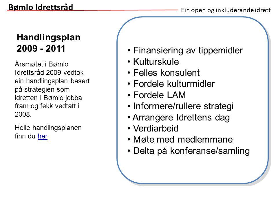 Ein open og inkluderande idrett Handlingsplan 2009 - 2011 Bømlo Idrettsråd Finansiering av tippemidler Kulturskule Felles konsulent Fordele kulturmidl