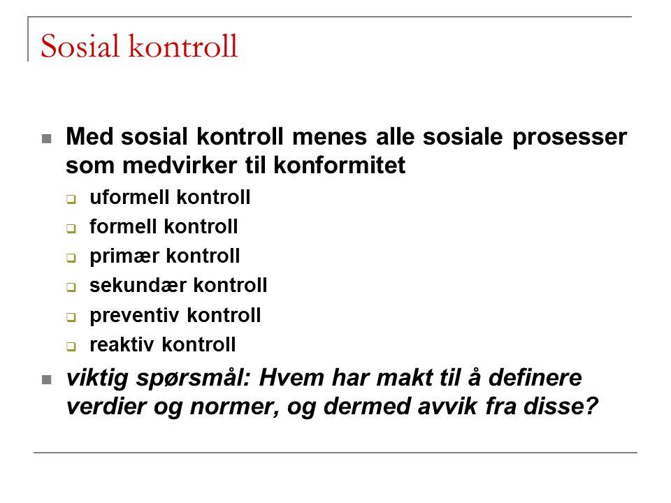 Sosial kontroll Med sosial kontroll menes alle sosiale prosesser som medvirker til konformitet  uformell kontroll  formell kontroll  primær kontrol