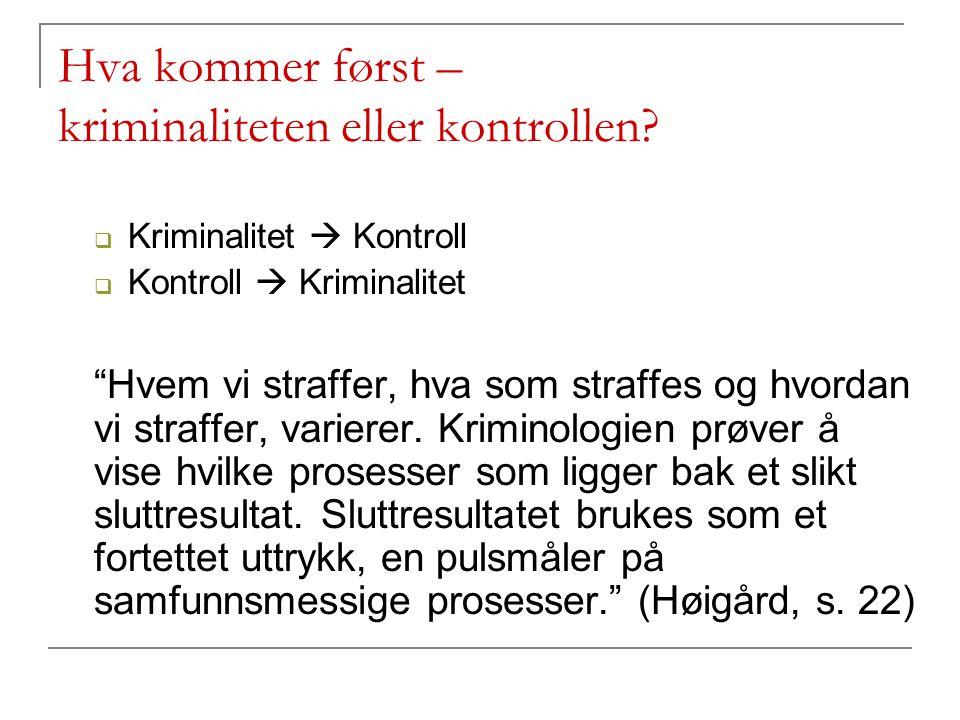 """Hva kommer først – kriminaliteten eller kontrollen?  Kriminalitet  Kontroll  Kontroll  Kriminalitet """"Hvem vi straffer, hva som straffes og hvordan"""
