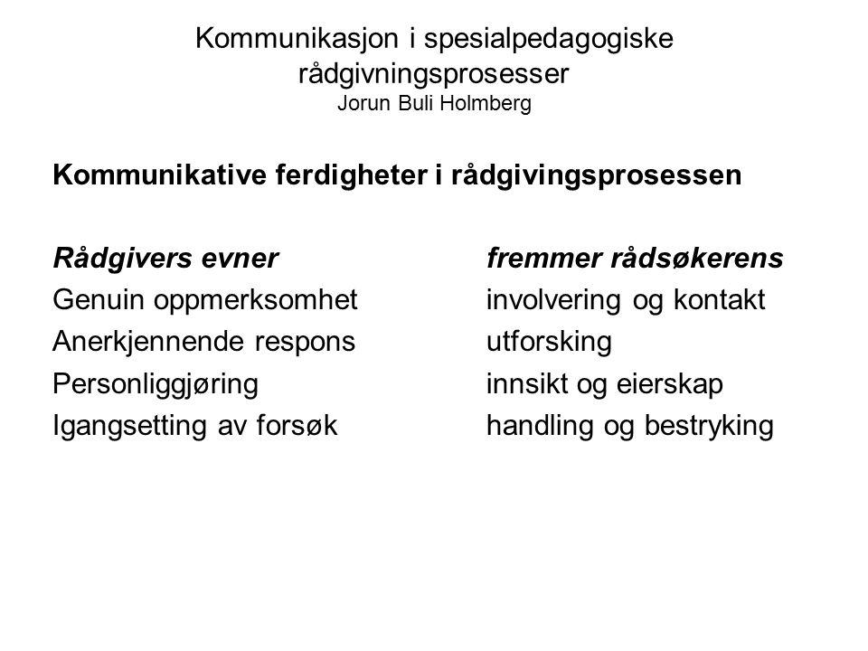 Kommunikasjon i spesialpedagogiske rådgivningsprosesser Jorun Buli Holmberg Kommunikative ferdigheter i rådgivingsprosessen Rådgivers evner fremmer rå