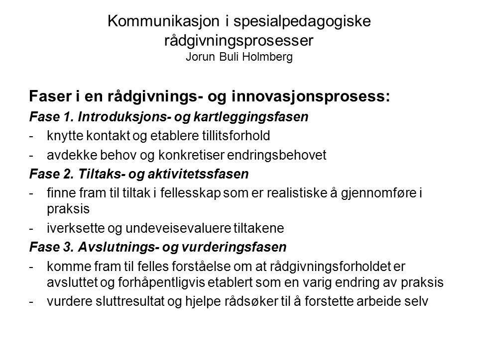 Kommunikasjon i spesialpedagogiske rådgivningsprosesser Jorun Buli Holmberg Faser i en rådgivnings- og innovasjonsprosess: Fase 1. Introduksjons- og k