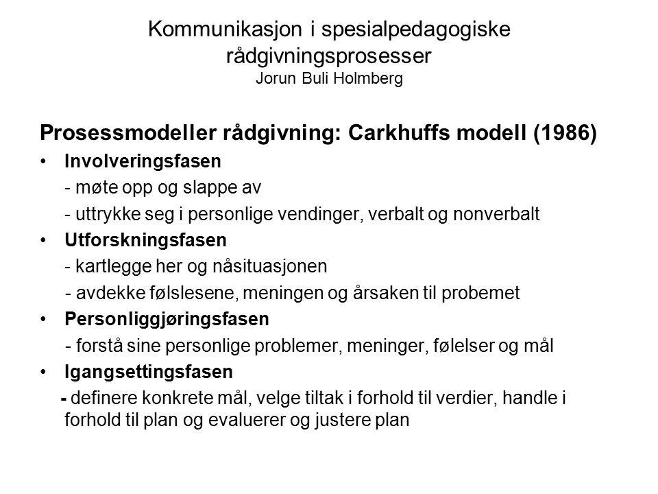 Kommunikasjon i spesialpedagogiske rådgivningsprosesser Jorun Buli Holmberg Prosessmodeller rådgivning: Carkhuffs modell (1986) Involveringsfasen - mø