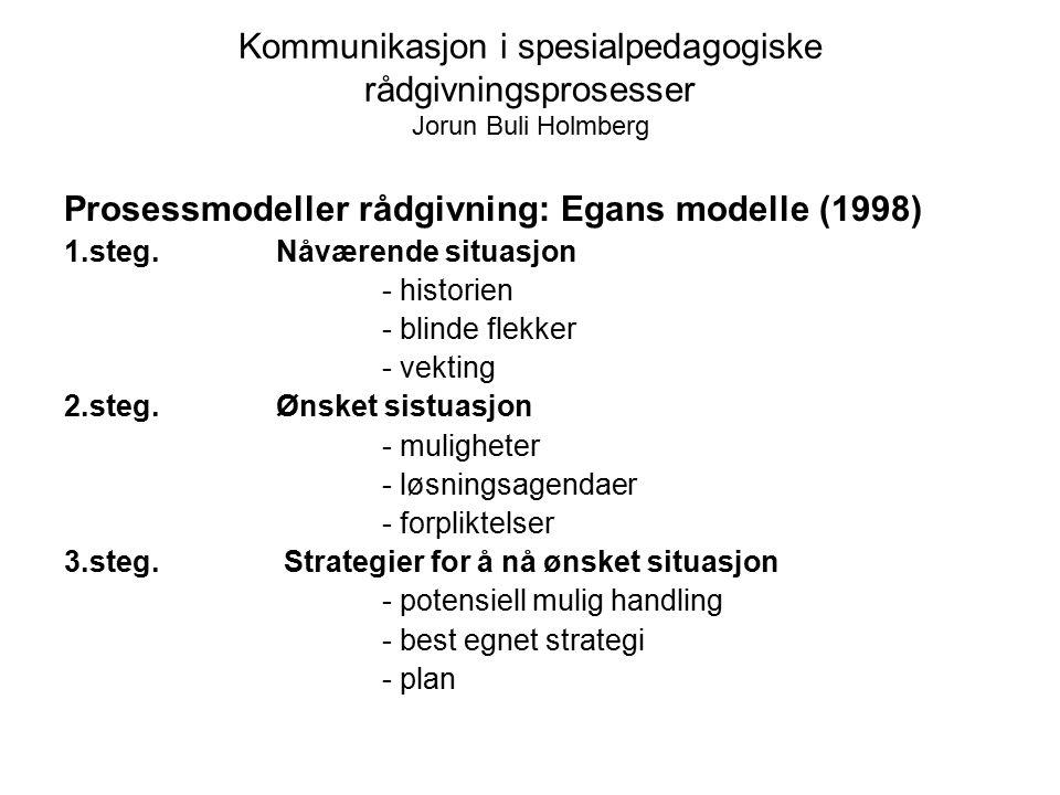 Kommunikasjon i spesialpedagogiske rådgivningsprosesser Jorun Buli Holmberg Prosessmodeller rådgivning: Egans modelle (1998) 1.steg. Nåværende situasj