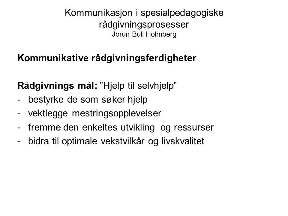 """Kommunikasjon i spesialpedagogiske rådgivningsprosesser Jorun Buli Holmberg Kommunikative rådgivningsferdigheter Rådgivnings mål: """"Hjelp til selvhjelp"""
