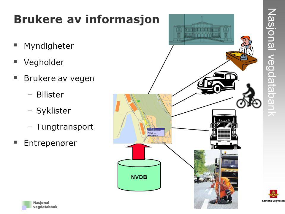 7 Nasjonal vegdatabank Brukere av informasjon  Myndigheter  Vegholder  Brukere av vegen –Bilister –Syklister –Tungtransport  Entrepenører NVDB