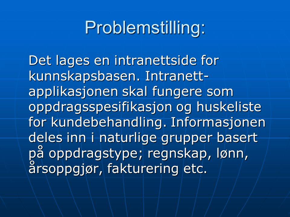 Problemstilling: Det lages en intranettside for kunnskapsbasen.