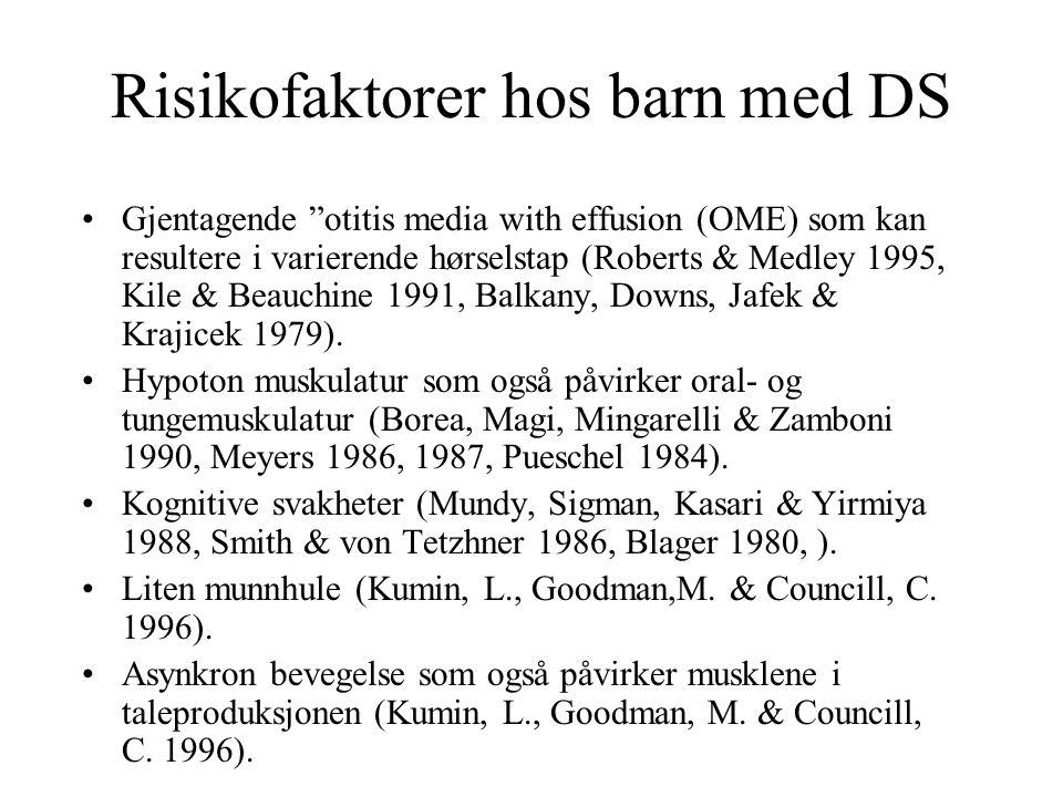 "Risikofaktorer hos barn med DS Gjentagende ""otitis media with effusion (OME) som kan resultere i varierende hørselstap (Roberts & Medley 1995, Kile &"