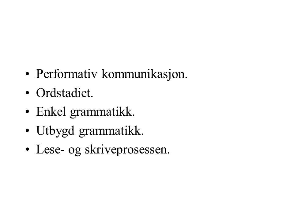 Performativ kommunikasjon. Ordstadiet. Enkel grammatikk. Utbygd grammatikk. Lese- og skriveprosessen.