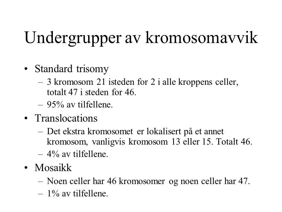 Undergrupper av kromosomavvik Standard trisomy –3 kromosom 21 isteden for 2 i alle kroppens celler, totalt 47 i steden for 46. –95% av tilfellene. Tra