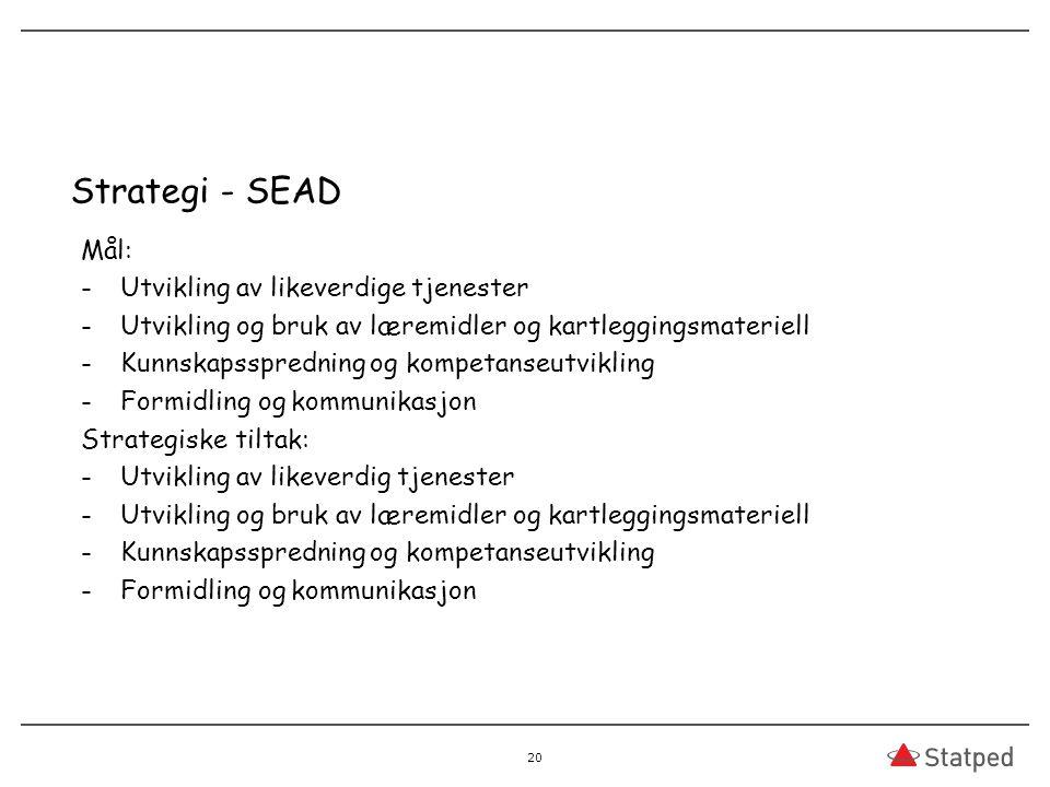 Strategi - SEAD Mål: -Utvikling av likeverdige tjenester -Utvikling og bruk av læremidler og kartleggingsmateriell -Kunnskapsspredning og kompetanseut
