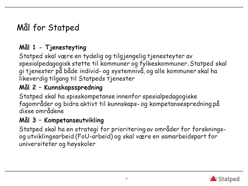 Mål for Statped Mål 1 - Tjenesteyting Statped skal være en tydelig og tilgjengelig tjenesteyter av spesialpedagogisk støtte til kommuner og fylkeskommuner.