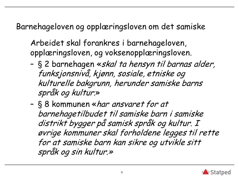 Barnehageloven og opplæringsloven om det samiske Arbeidet skal forankres i barnehageloven, opplæringsloven, og voksenopplæringsloven.