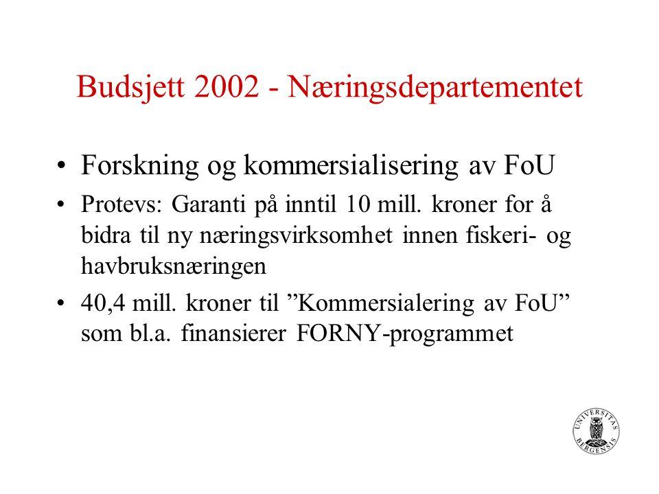 Budsjett 2002 - Næringsdepartementet Forskning og kommersialisering av FoU Protevs: Garanti på inntil 10 mill.