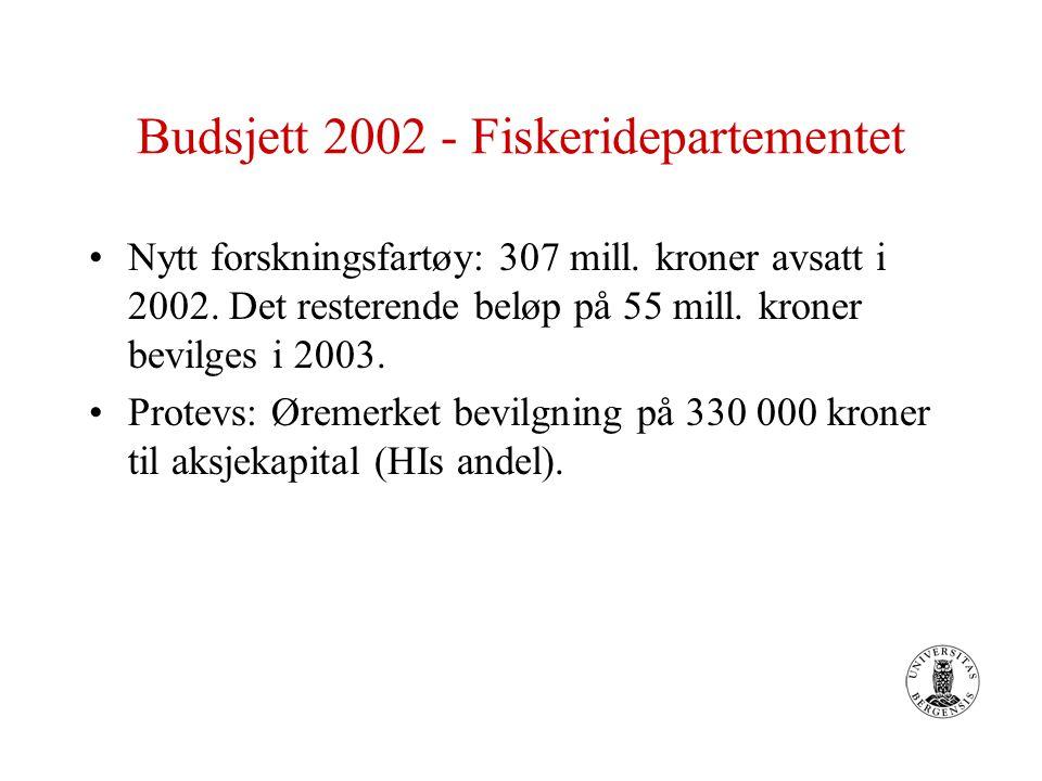 Budsjett 2002 - Fiskeridepartementet Nytt forskningsfartøy: 307 mill.