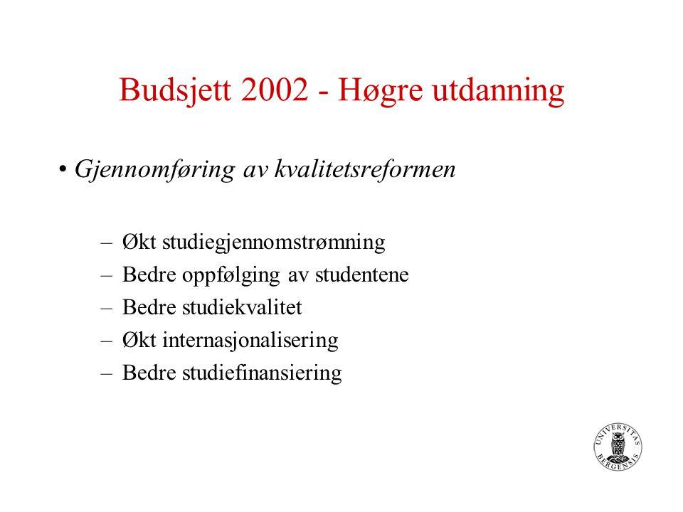 Budsjett 2002 - Høgre utdanning Gjennomføring av Kvalitetsreformen Det settes av 100 mill.